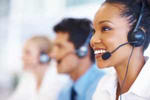 Call center representatives at a help desk using VOIP