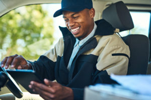 Smiling Delivery Driver using VoIP