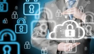 Cloud Backups concept. Security and safety of cloud computing
